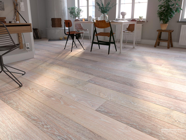 Ambientazione render 3d di un pavimento in legno rovere
